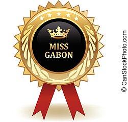 Miss Gabon Award - Gold miss Gabon winning award badge.