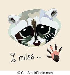miss., illustration., -, ベクトル, アライグマ, カード