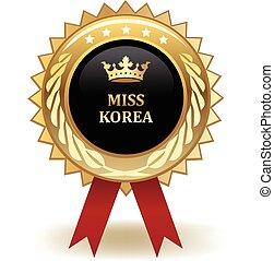 Miss Korea Award - Gold miss Korea winning award badge.