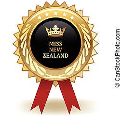 Miss New Zealand Award - Gold miss New Zealand winning award...