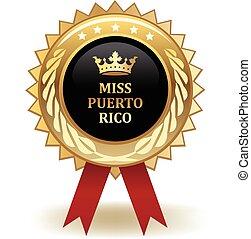 Miss Puerto Rico Award - Gold miss Puerto Rico winning award...