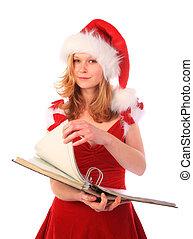 Miss Santa is Doing Paper Work
