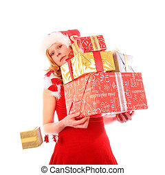 Miss Santa is Loosing One Golden Gift Box