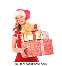 Miss Santa is Losing One Gift Box