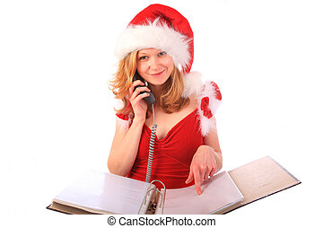 Miss Santa is Taking Orders on the Phone