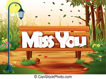 Miss You wallpaper background - vector illustration of Miss...