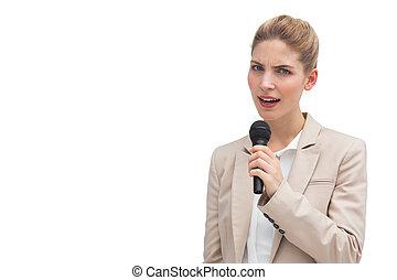 missbilligend, mikrophon, geschäftsfrau