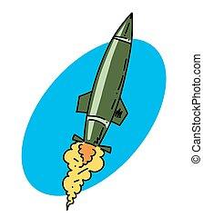 Missile cartoon hand drawn image. Original colorful artwork,...