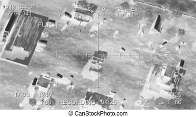 Missile hits the terrorist base, view from the drone. video...