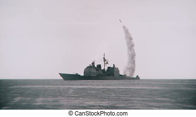 Missile launched from a navy vessel. - 3D animation of a...