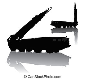 Missile launcher   - Silhouette of  Scud missile launcher