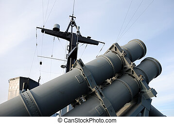 Missile. - Main missile system on-board a frigate...