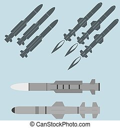 Missile military rocket weapons - Missile icons, military...