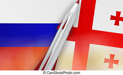 Missile of Russia and Georgia on flags background