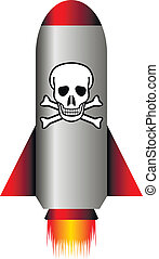Missile with a chemical weapon on white - vector...