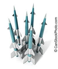 missiles, isolé, illustration, arrière-plan., blanc, 3d