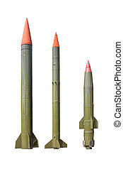 Missiles on white background