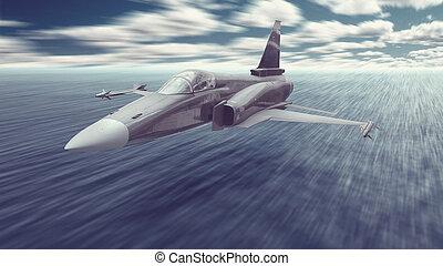 missili, jet combattente, sopra, volare, missione, acqua oceano, attacco, basso, aeroplano, armato, guerra, really