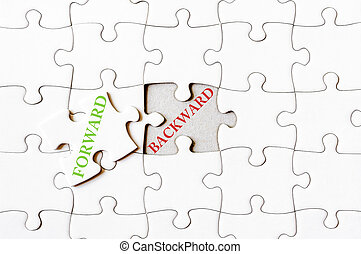 Missing jigsaw puzzle piece with word FORWARD