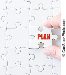 Missing jigsaw puzzle piece with word PLAN