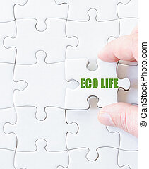 Missing jigsaw puzzle piece with words ECO LIFE