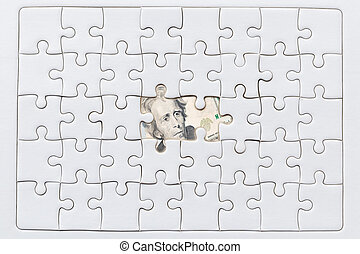 Missing jigsaw puzzle pieces on USA dollar background