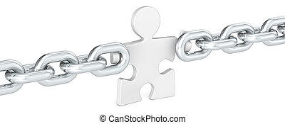 Missing Link. - Puzzle people holding Chain Link. White.