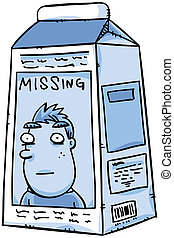 Missing Milk - A missing person notice on a cartoon carton...