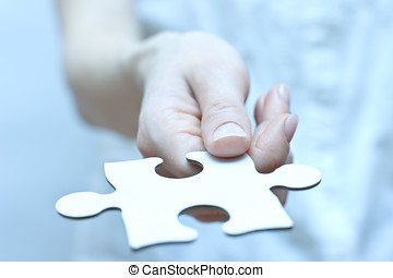 missing part - Missing part of puzzle. Puzzle piece in hand....