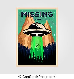 missing people with unidentified flying object vintage poster vector illustration design. science background design