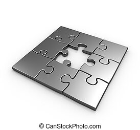 Missing piece puzzle concept - Missing piece puzzle isolated...