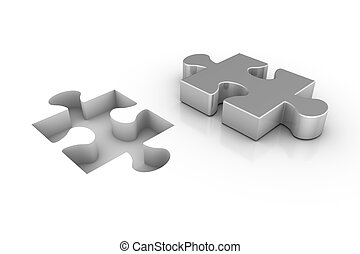 Missing Piece - 3D render of a missing jigsaw puzzle piece.