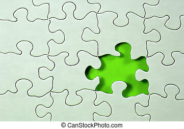 Missing Piece - Photo of Puzzle With Missing Piece and Green...