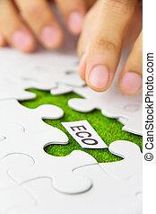 missing puzzle piece, eco concept