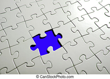 Missing puzzle  piece, focus around the empty space.