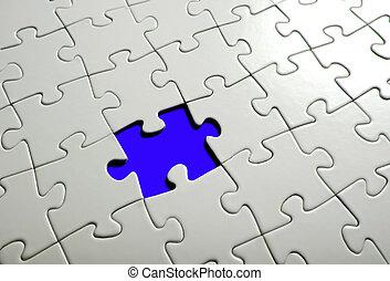 Missing puzzle  piece, focus around the empty space.