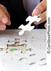 missing puzzle piece, money concept
