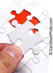 Missing Puzzle - White Blank Puzzle, business concept of...