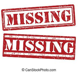 Missing grunge rubber stamps on white, vector illustration