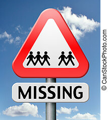 missing or lost person or child search warning sign