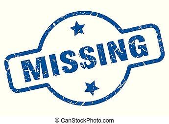 missing vintage stamp. missing sign