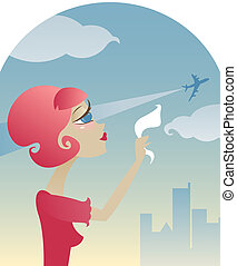 Missing You - Sad retro style girl waves goodbye with her ...