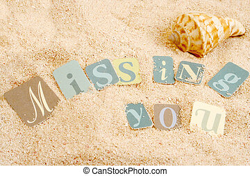 missing you sentiments from a tropical sandy beach with...