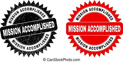 MISSION ACCOMPLISHED Black Rosette Stamp Seal with Grunge Texture
