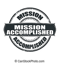 mission accomplished grunge stamp whit on vector...