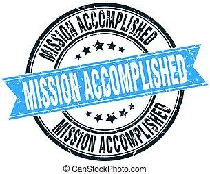 mission accomplished round grunge ribbon stamp