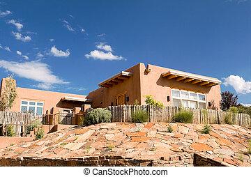 Mission Adobe Home Palisade Fence Santa Fe NM USA