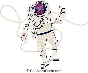 mission., astronaut, raumanzug, schwimmend, ok, karikatur, kosmonaut, raum, schwerkraft, hintergrund., illustration., kosmisch, weißes, freigestellt, null, fliegendes, wohnung, vektor, mann, ausstellung, reisender, zeichen, zeichen