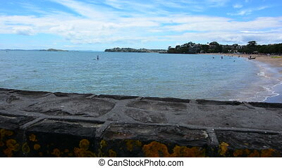 Mission Bay beach Rangitoto Island - Panoramic landscape of...