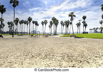 The Bonita cove park in southern Mission Bay over the Pacific beach in San Diego, California in the United States of America. A view of the golden sandy beach, palm trees, playground and clear sky.